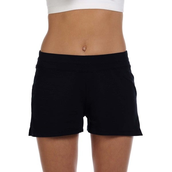 Bella Women's Black Cotton/ Spandex Fitness Shorts