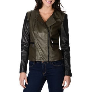 Vince Camuto Women's Olive and Black Genuine Leather Jacket