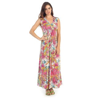Hadari Women's Multi-colored V-neck Maxi Dress