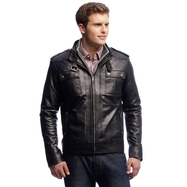 NDK New York Men's Black Lambskin Moto Jacket 13236545