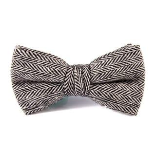 DIBI Black Herringbone Pre Tie Bow Tie