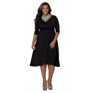 Kiyonna Women's Plus Size 'Draped in Class' Black Noir A-line Dress