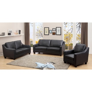 Aspen Charcoal Grey Top Grain Leather Living Room Sofa Set