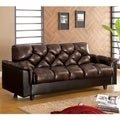 Furniture of America Pouffle Brown Leather-Like Futon Sofa