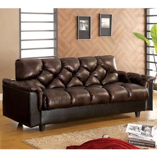 Furniture of America Pouffle Brown Leather-Like Futon Sofa