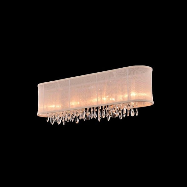 4-light Chrome/ Clear Crystal Wall Sconce