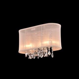 2-light Chrome Crystal Bar Wall Vanity Light with Cream Shade