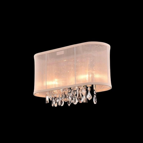 2-light Chrome Crystal Bar Wall Vanity Light with Cream Shade