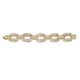 PalmBeach Pave Crystal Panther Link Bracelet in Yellow Gold Tone Bold Fashion