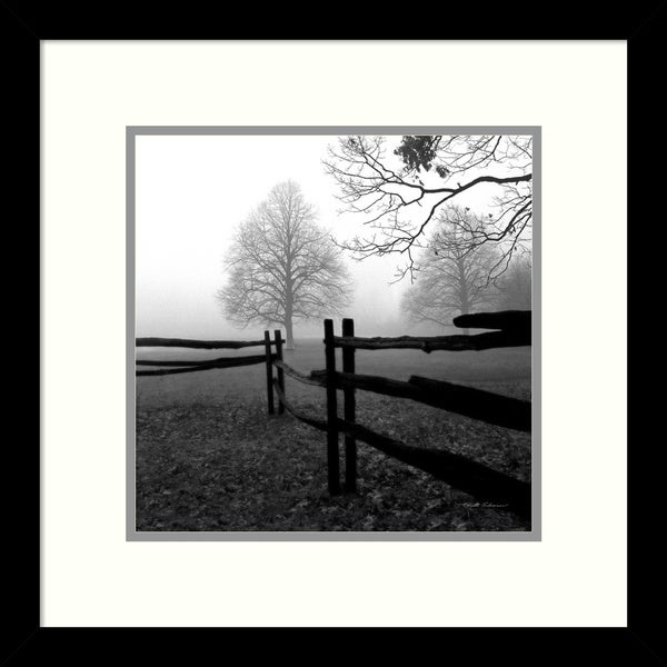 Harold Silverman 'Fence in the Mist' Framed Art Print 13 x 13-inch