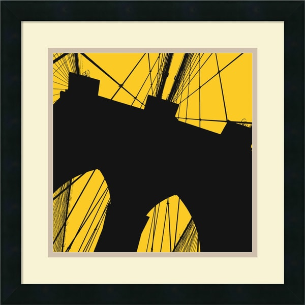Erin Clark 'Brooklyn Bridge (yellow)' Framed Art Print 18 x 18-inch