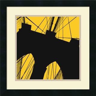 Erin Clark 'Brooklyn Bridge (yellow)' Framed Art Print 18 x 18-inch