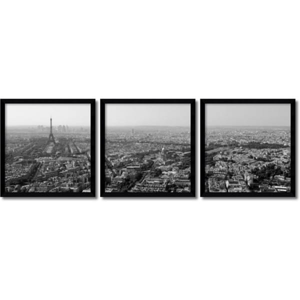 Ocean Images 'Paris Skyline Triptych- set of 3' Framed Art Print 16 x 17-inch Each