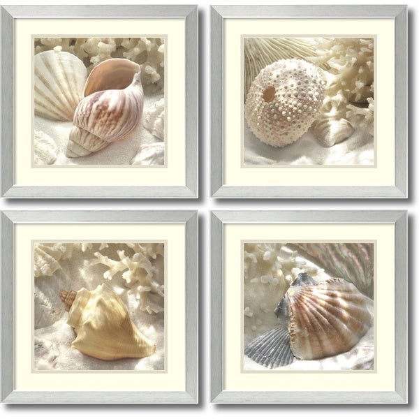 Donna Geissler 'Coral Shell- set of 4' Framed Art Print 18 x 18-inch Each 13240895