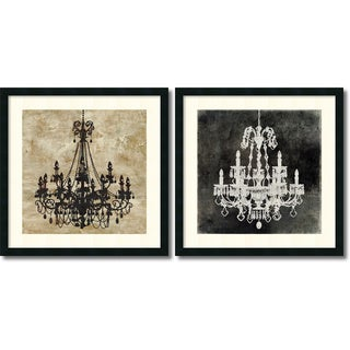 Oliver Jeffries 'Chandelier- set of 2' Framed Art Print 26 x 26-inch Each