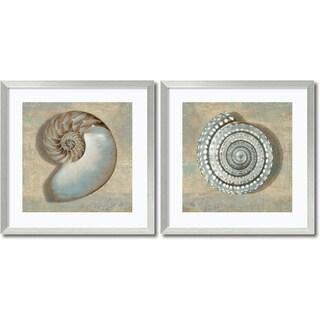 Caroline Kelly 'Aqua Shells- set of 2' Framed Art Print 27 x 27-inch Each