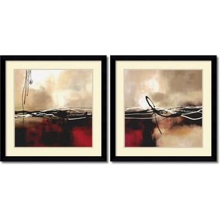 Laurie Maitland 'Symphony in Red & Khaki- set of 2' Framed Art Print 33 x 33-inch Each