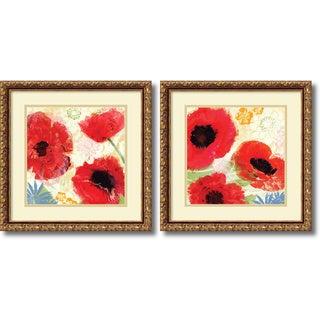 Meringue 'Poppies Painterly- set of 2' Framed Art Print 18 x 18-inch Each