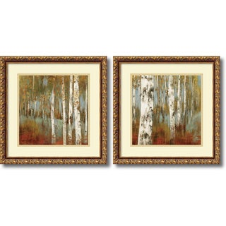 Allison Pearce 'Along the Path- set of 2' Framed Art Print 18 x 18-inch Each