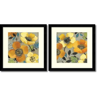 Allison Pearce 'Yellow and Orange Poppies- set of 2' Framed Art Print 27 x 27-inch Each