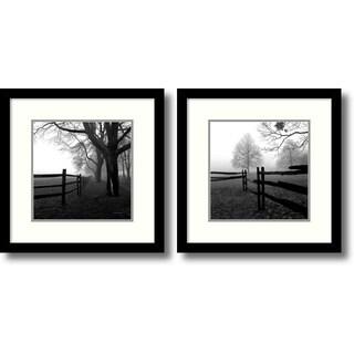 Harold Silverman 'Corner Fence in the Mist- set of 2' Framed Art Print 13 x 13-inch Each