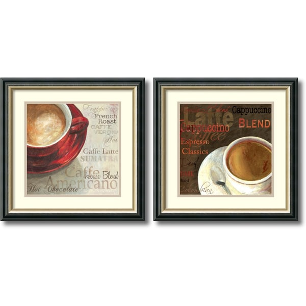 Aimee Wilson 'Latte & Cappucino- set of 2' Framed Art Print 18 x 18-inch Each