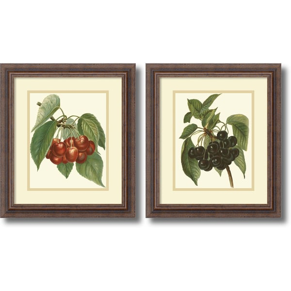 John Wright 'Red Cherries, Black Cherries- set of 2' Framed Art Print 14 x 16-inch Each