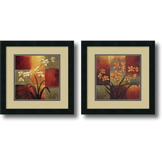 Jill Deveraux 'White Orchid, Orange Orchid- set of 2' Framed Art Print 16 x 16-inch Each