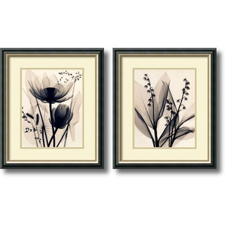 Judith McMillan 'Lotus and Grasses / Lily of the Valley- set of 2' Framed Art Print 19 x 22-inch Each