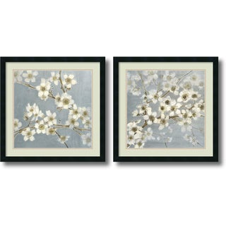 Elise Remender 'Silver Blossoms- set of 2' Framed Art Print 24 x 24-inch Each