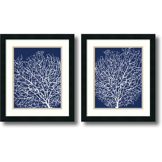 Sabine Berg 'Navy Coral- set of 2' Framed Art Print 17 x 20-inch Each