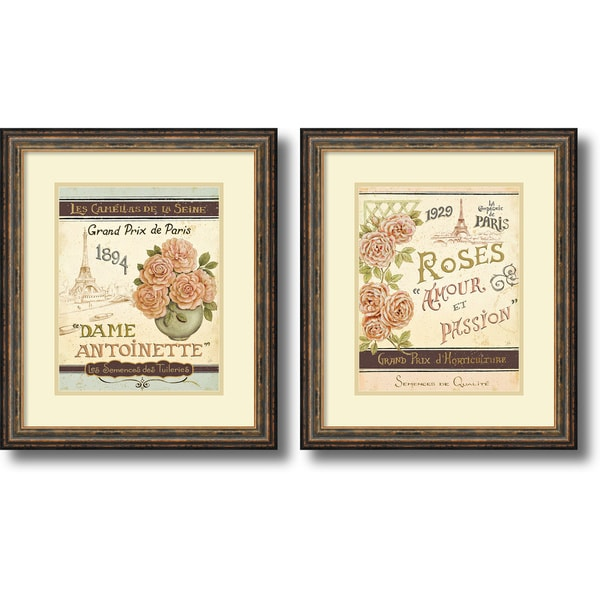 Daphne Brissonnet 'French Seed Packets- set of 2' Framed Art Print 19 x 22-inch Each