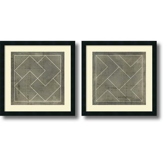 Vision Studio 'Geometric Blueprint III and IV- set of 2' Framed Art Print 21 x 21-inch Each