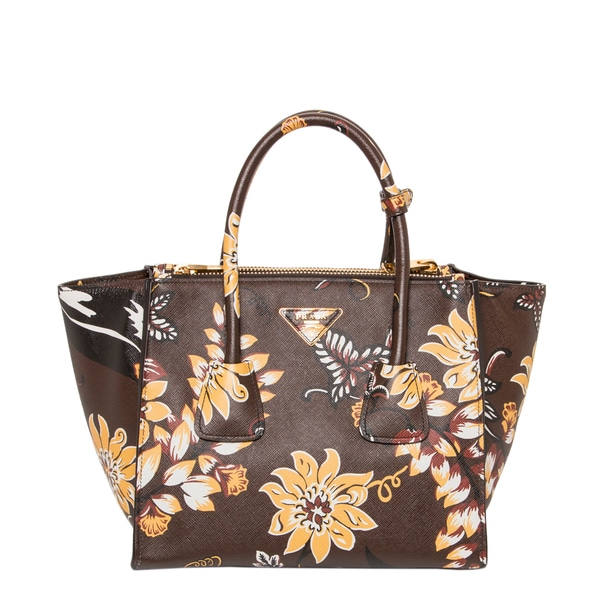 prada-handbag.com - Prada Floral Printed Saffiano Leather Twin Pocket Tote - 16348871 ...