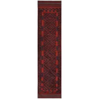 Herat Oriental Semi-antique Hand-knotted Tribal Balouchi Navy/ Red Wool Rug (1'11 x 8'6)