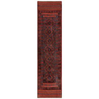 Herat Oriental Semi-antique Hand-knotted Tribal Balouchi Rust/ Blue Wool Rug (1'11 x 8'4)