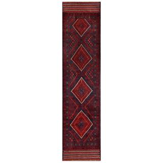 Herat Oriental Semi-antique Hand-knotted Tribal Balouchi Navy/ Red Wool Rug (1'1 x 8'8)