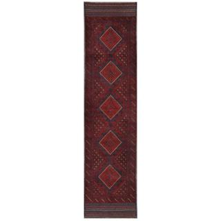 Herat Oriental Semi-antique Hand-knotted Tribal Balouchi Red/ Navy Wool Rug (2' x 8'6)