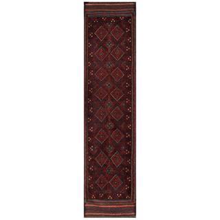 Herat Oriental Semi-antique Hand-knotted Tribal Balouchi Navy/ Maroon (1'11 x 8'8)
