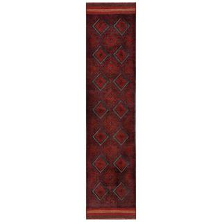 Herat Oriental Semi-antique Hand-knotted Tribal Balouchi Red/ Navy Wool Rug (1'11 x 8'10)