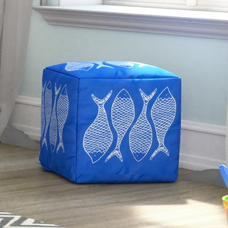 Fish Scales Outdoor/ Indoor Decorative Cube Pouf