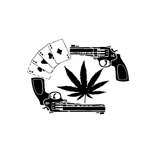 Two Guns / Cannabis Leaf / Playing Cards Vinyl Wall Art
