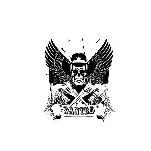 Most Wanted Skull Logo Vinyl Wall Art