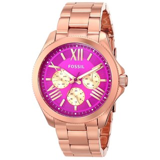 Fossil Women's AM4549 Cecile Pink Dial Chronograph Rose Gold Watch