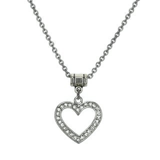 Jewelry by Dawn Stainless Steel Open Rhinestone Heart Necklace