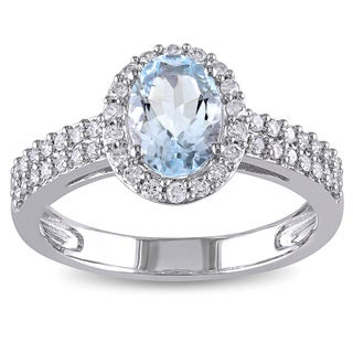 Miadora 10k White Gold Aquamarine and 1/3ct TDW Diamond Ring (G-H, I1-I2)