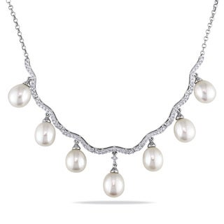Miadora 14k White Gold White Pearl and 5/8ct TDW Diamond Necklace (G-H, I1-I2) (8-8.5 mm)