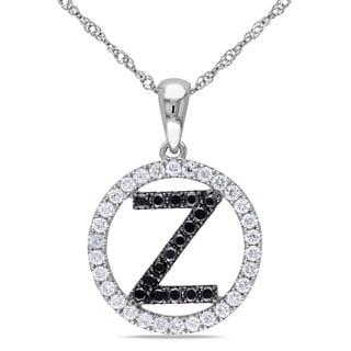Miadora 14k White Gold 1/2ct TDW Black and White Diamond Letter Necklace (H-I, S1)