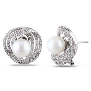 Miadora 14k White Gold White Pearl and 1/4ct TDW Diamond Earrings (G-H, S1-S2) (8-8.5 mm)