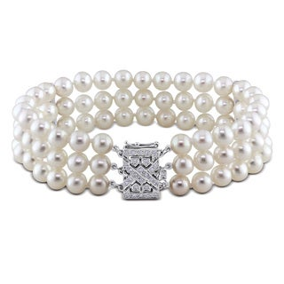 Miadora 14k White Gold Cultured Freshwater Pearl and 1/3ct TDW Diamond Bracelet (G-H, I1-I2) (6-6.5 mm)